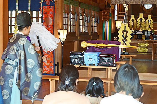 白鷺神社にてランドセル祈願